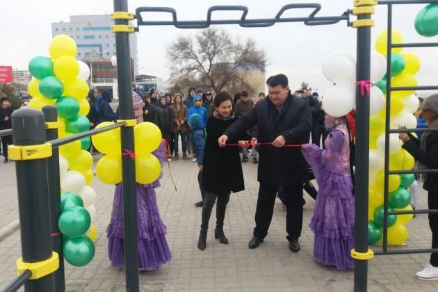 Банк Астаны открыл спортивно-оздоровительную площадку вЗападном Казахстане
