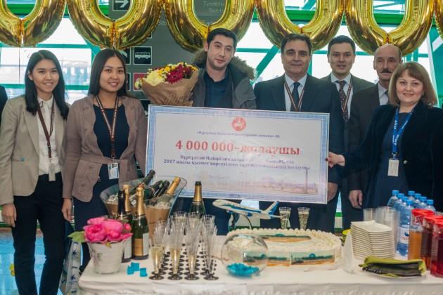 Аэропорт Астаны обслужил 4-миллионного пассажира